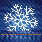 Snowflake on jeans texture — Stock Vector