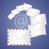 White detailed envelopes — Stock Vector