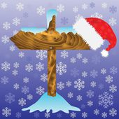 Seta e santa chapéu de inverno — Vetor de Stock