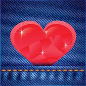 Jeans background with heart — ストックベクタ