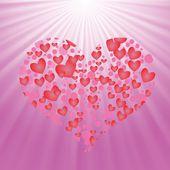 粉红色的背景上的心 — 图库矢量图片