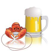 Lobster and mug of beer — Vector de stock