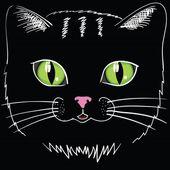 Black cat head — Stock Vector