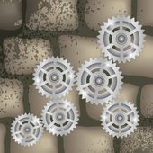 Gears on a brick background — Vector de stock