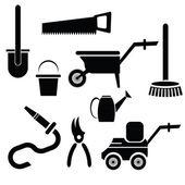 Garden tools silhouettes — Stock Vector