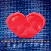 Fundo de jeans com coração — Fotografia Stock