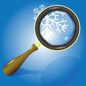 Snow flake and magnifying glass — Stock Photo