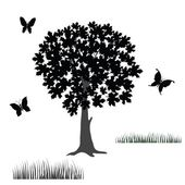 Tree and butterflies — Stock Photo