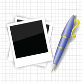 Frames and pen — Stockfoto
