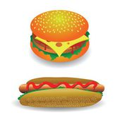 Hot dog and hamburger — Stockfoto