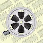 Cinema film tape on disc — Stock Vector