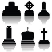 Set of gravestone silhouettes — Stock Vector