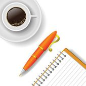 Cup of coffee and pen — Stock Vector