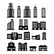 Building Black and White set 1 — Stock Vector