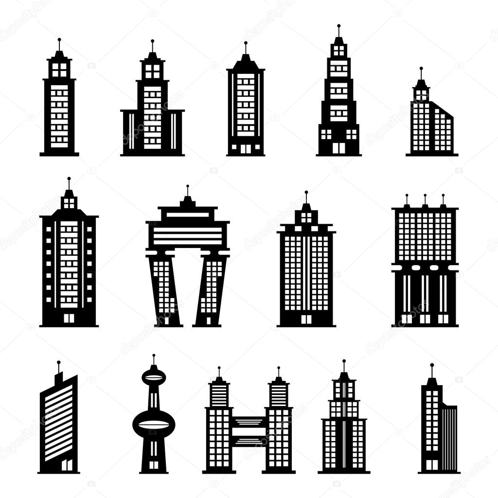 Black And White Apartment Building Clip Art Building black and white ...