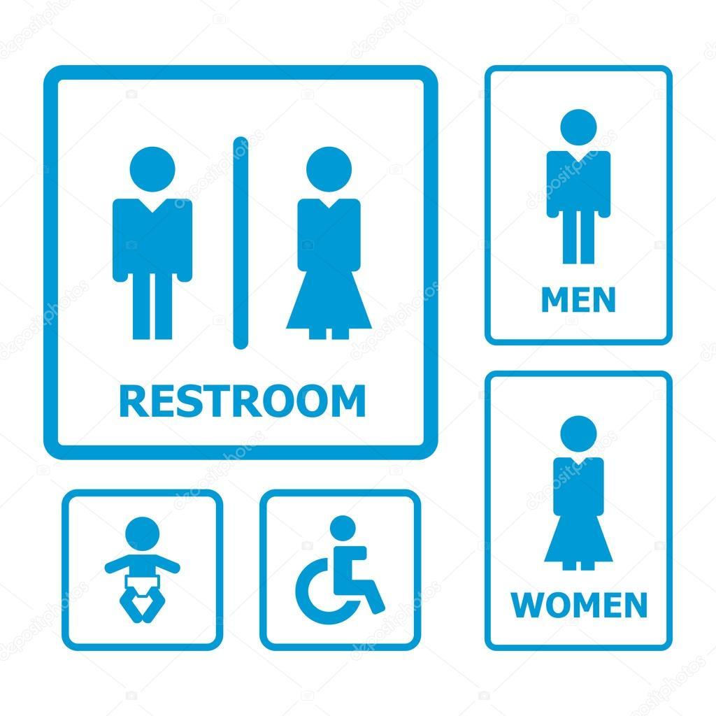 Baixar Conjunto de placa de banheiro — Ilustração de Stock  #068EC5 1024x1024 Baixar Banheiro Para Autocad