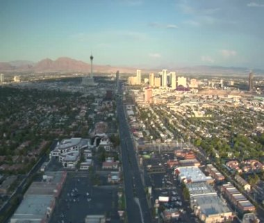 Aerial shot of Las Vegas near strip daytime — Stock Video