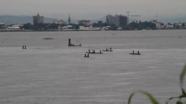 Congo River with boats and city in the background — Stock Video