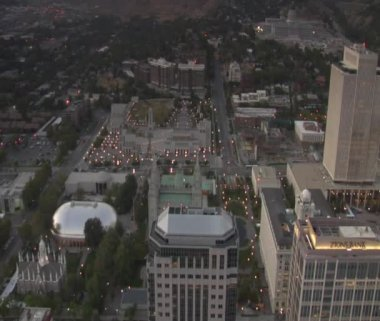 Aerial shot of Mormon Temple in Salt Lake City Utah — Stock Video