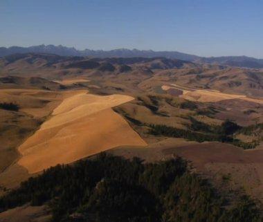 Toma aérea de campos con montañas en la distancia — Vídeo de stock