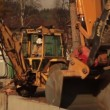 Backhoe and excavator working — Stock Video #29774067