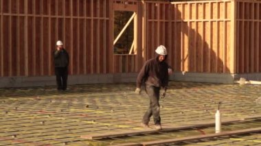 Preparing concrete forms — Stockvideo