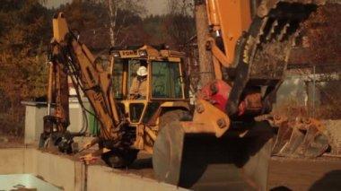 Backhoe and excavator working — Stock Video