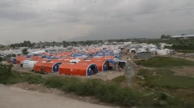 Refugee camp tents in Port-au-Prince Haiti — Stock Video