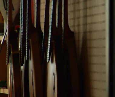 Rack focus on stringed instruments — Stock Video