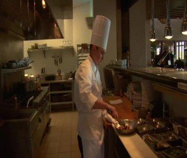 Lo chef prepara il cibo e cuochi con padella fiammeggiante — Video Stock