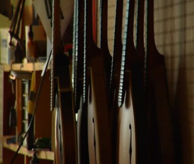 Pan from stringed instruments to worker — Stock Video