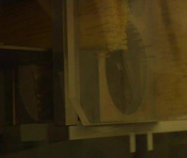 Close-up on spaghetti packing machine — Stock Video