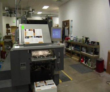 Steadicam shot around printing press — Stock Video