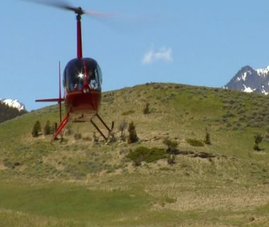 Robinson R 44 helicopter lands — Stock Video