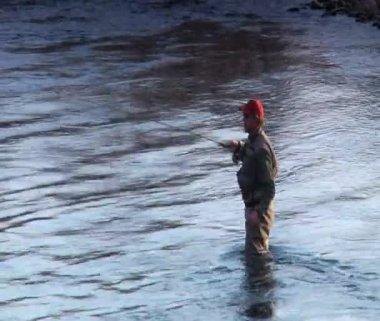 Man flyfishing in River in wintertime — Stock Video