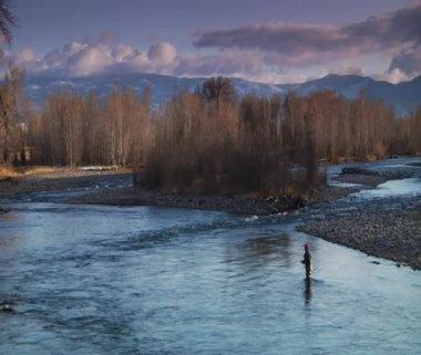 Man flyfishing in River — Stock Video