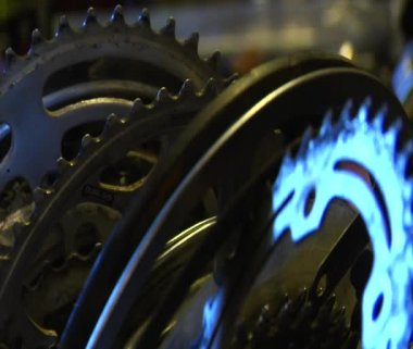 Metal bike parts gleaming in light — Stock Video
