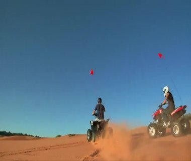 High shutter speed ATV riders on standards — Stok video