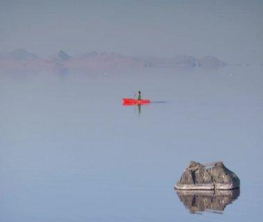 Hombre kayak en aguas tranquilas — Vídeo de stock