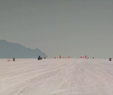 Dragster moving away from camera on Bonneville salt Flats — Stock Video