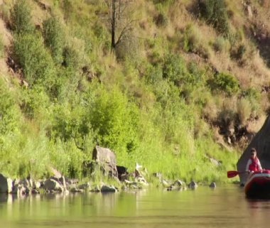 Inflatable flyfishing trip boat medium on calm of River — Stock Video