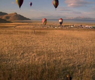 View from inside hot air balloon — Stock Video