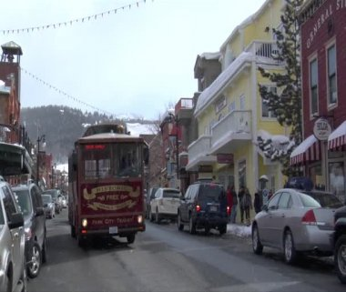 Trolley On Main St., Park city Utah — Stock Video