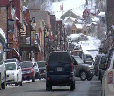 Traffic On Main St., Park city Utah — Stock Video