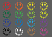 Colored icons emoticons — Stock Vector