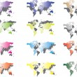World map in different colors — Stock Vector