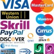 Credit card logos — Stock vektor #34689141