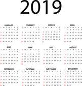 Kalendář 2019 — Stock vektor