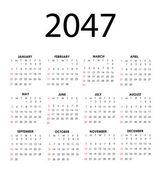 календарь 2047 — Cтоковый вектор