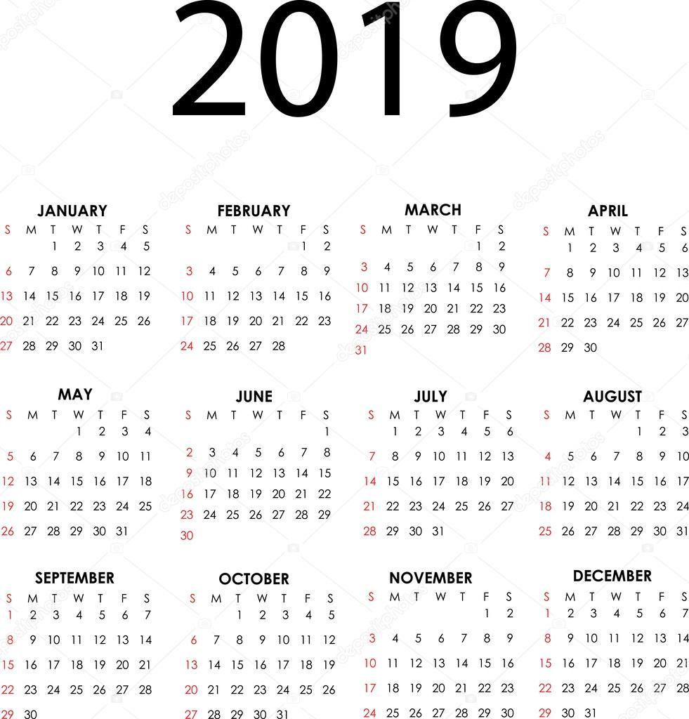 Calendar 2019 — Stock Vector © Lappenno2 #37399785